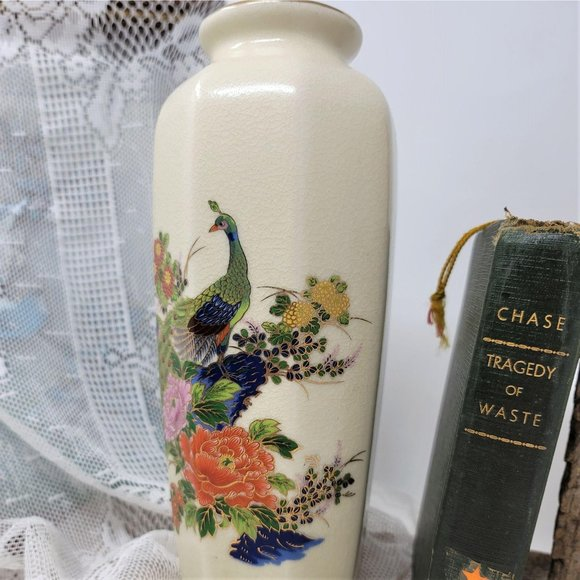Porcelain Tall Made in Japan Vase Peacock Floral